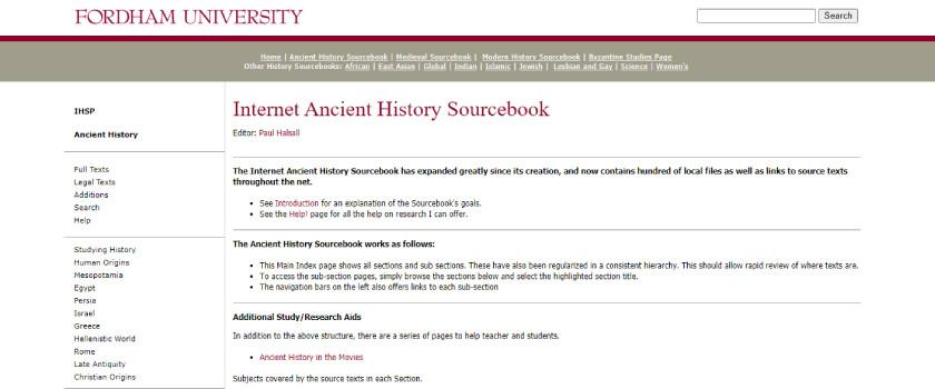 Internet Ancient History Sourcebook - Dicas para leitura de artigos TheCamp